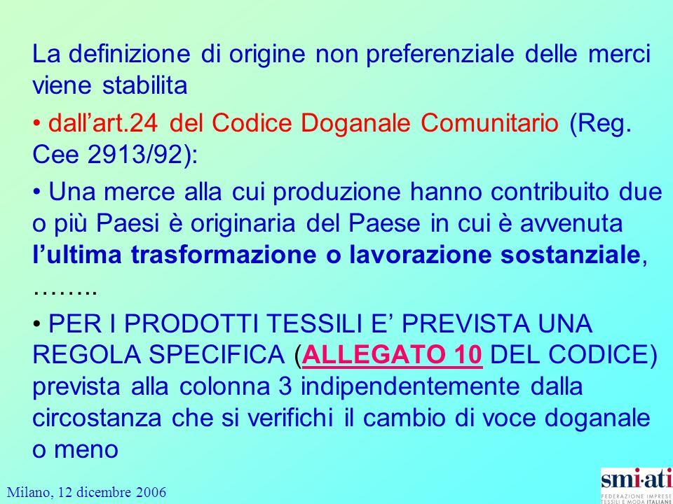 Milano, 12 dicembre 2006 La definizione di origine non preferenziale delle merci viene stabilita dallart.24 del Codice Doganale Comunitario (Reg.