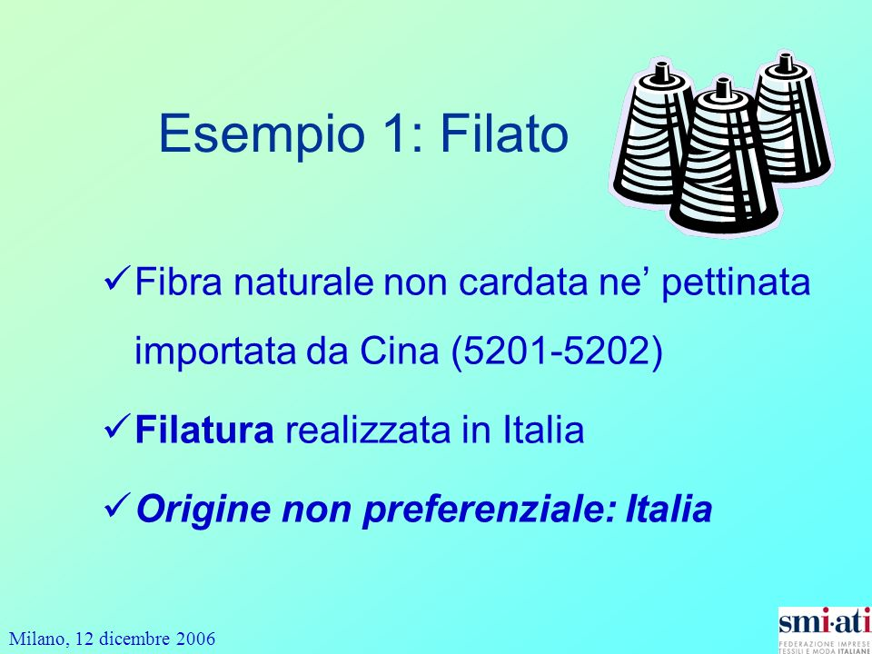 Milano, 12 dicembre 2006 Fibra naturale non cardata ne pettinata importata da Cina (5201-5202) Filatura realizzata in Italia Origine non preferenziale: Italia Esempio 1: Filato