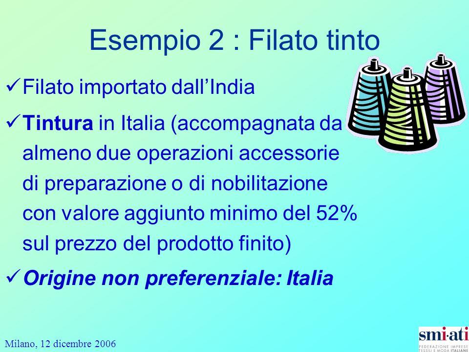 Milano, 12 dicembre 2006 Esempio 2 : Filato tinto Filato importato dallIndia Tintura in Italia (accompagnata da almeno due operazioni accessorie di preparazione o di nobilitazione con valore aggiunto minimo del 52% sul prezzo del prodotto finito) Origine non preferenziale: Italia