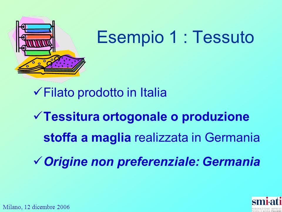 Milano, 12 dicembre 2006 Esempio 1 : Tessuto Filato prodotto in Italia Tessitura ortogonale o produzione stoffa a maglia realizzata in Germania Origine non preferenziale: Germania