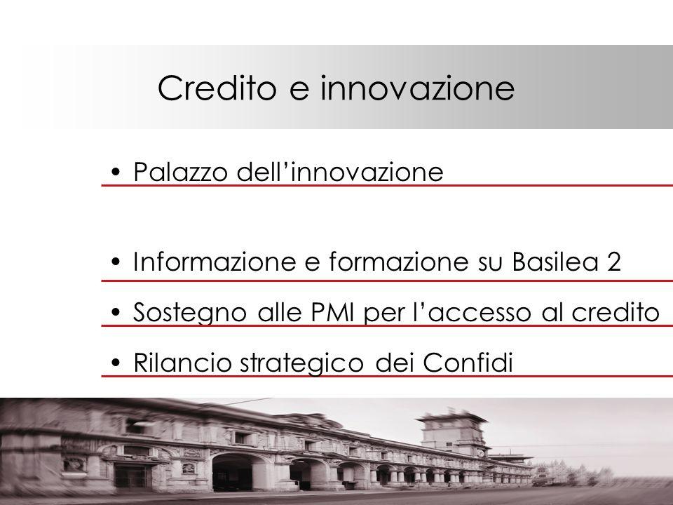 Credito e innovazione Palazzo dellinnovazione Informazione e formazione su Basilea 2 Sostegno alle PMI per laccesso al credito Rilancio strategico dei Confidi