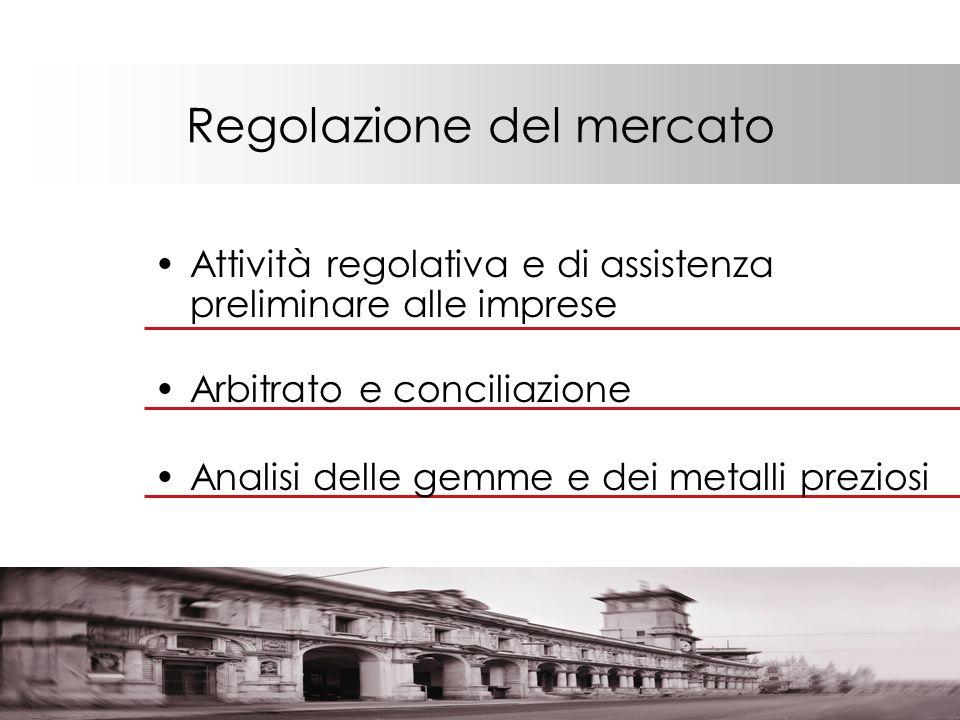 Regolazione del mercato Attività regolativa e di assistenza preliminare alle imprese Analisi delle gemme e dei metalli preziosi Arbitrato e conciliazione
