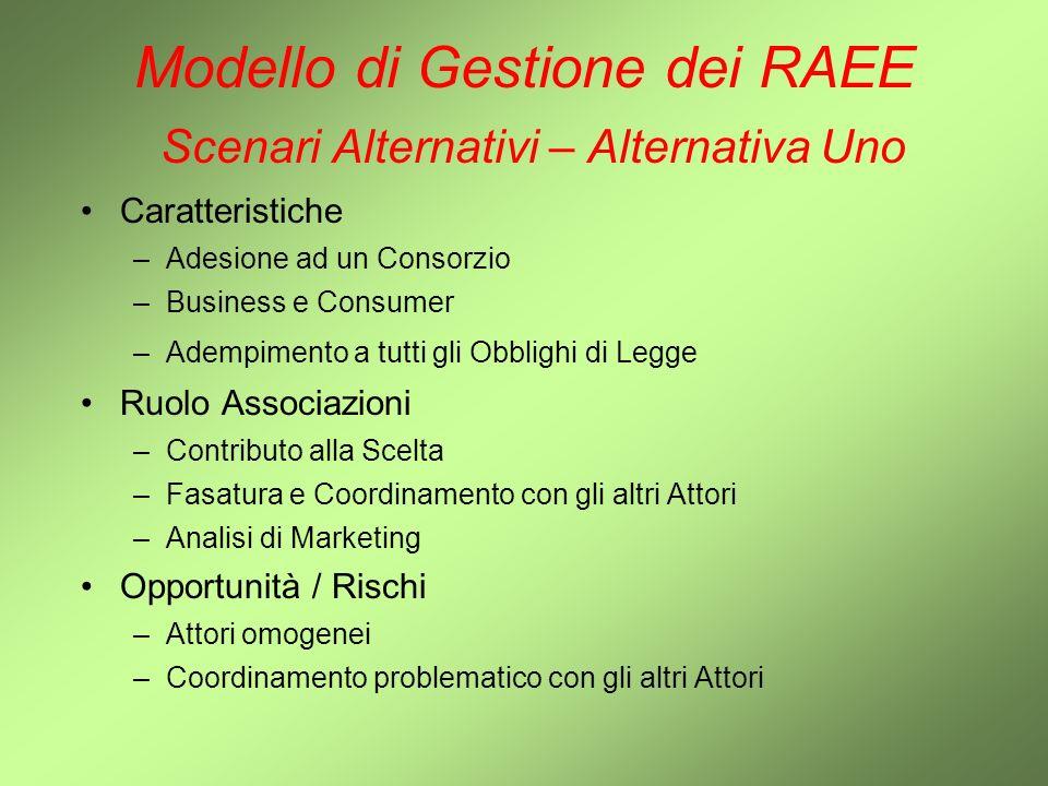 Modello di Gestione dei RAEE Scenari Alternativi – Alternativa Uno Caratteristiche –Adesione ad un Consorzio –Business e Consumer –Adempimento a tutti