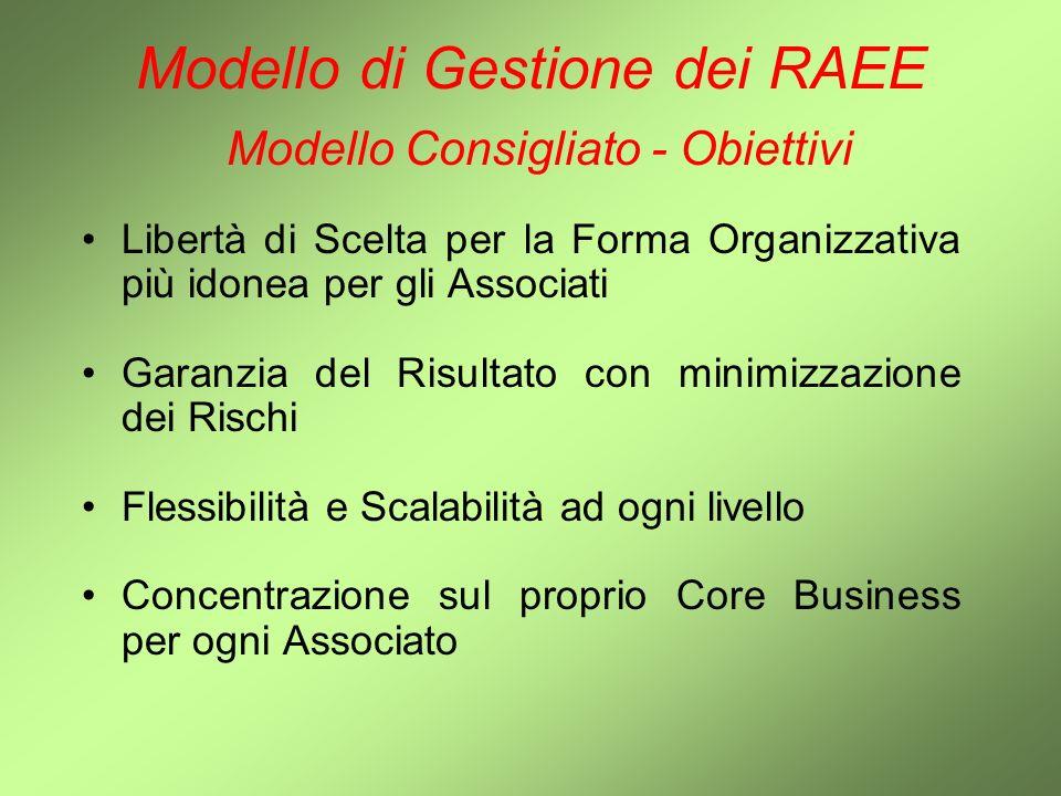 Modello di Gestione dei RAEE Modello Consigliato - Obiettivi Libertà di Scelta per la Forma Organizzativa più idonea per gli Associati Garanzia del Ri
