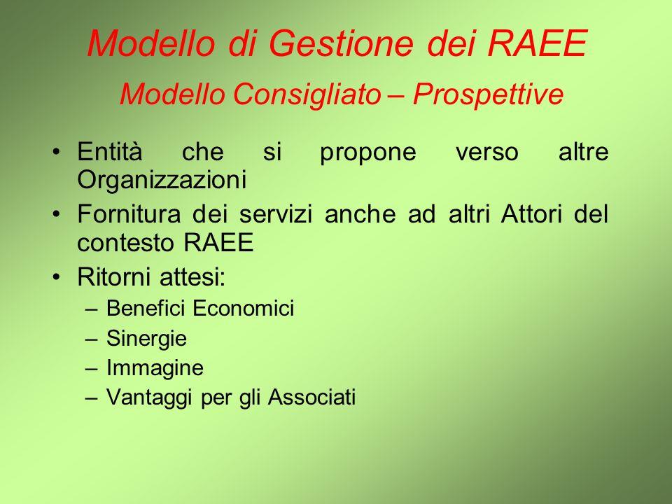 Modello di Gestione dei RAEE Modello Consigliato – Prospettive Entità che si propone verso altre Organizzazioni Fornitura dei servizi anche ad altri A