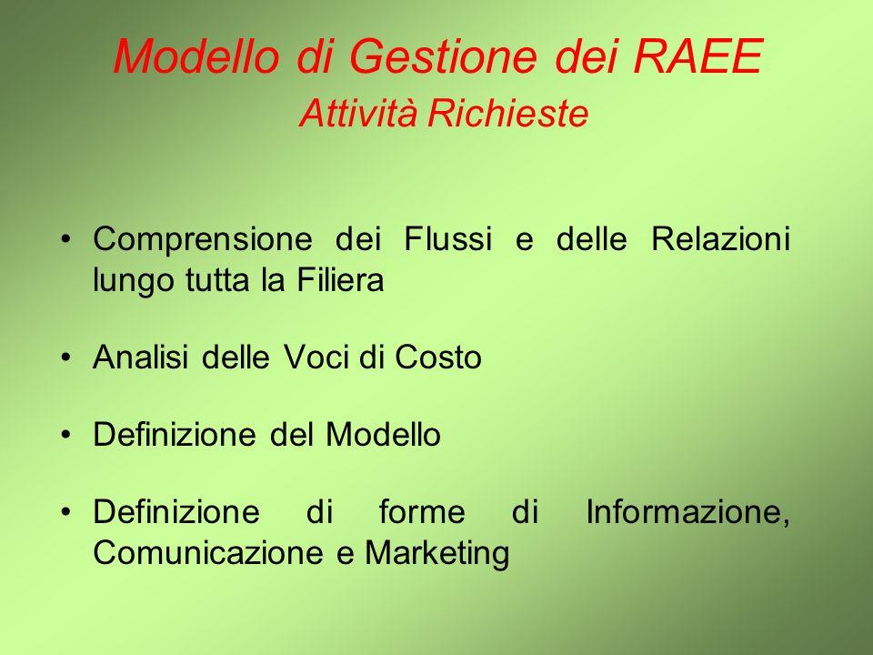 Modello di Gestione dei RAEE Modello Consigliato - Contesto Eterogeneità del Mercato Dimensioni differenti per gli Associati Dislocazione Geografica Tipologia di Attività