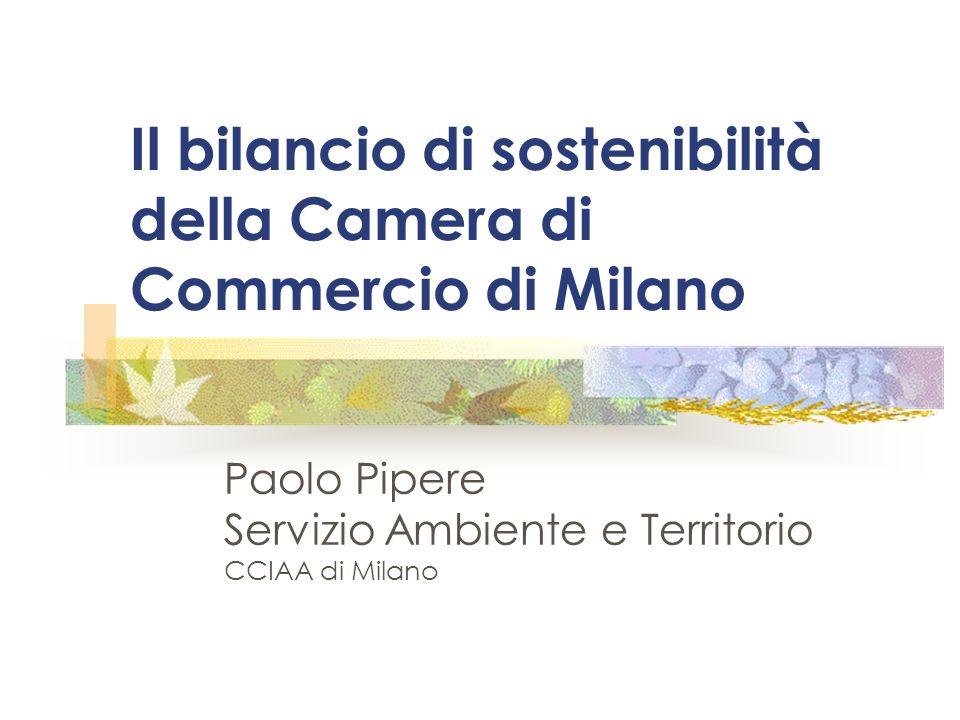 Il bilancio di sostenibilità della Camera di Commercio di Milano Paolo Pipere Servizio Ambiente e Territorio CCIAA di Milano