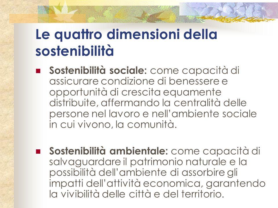 Le quattro dimensioni della sostenibilità Sostenibilità sociale: come capacità di assicurare condizione di benessere e opportunità di crescita equamen