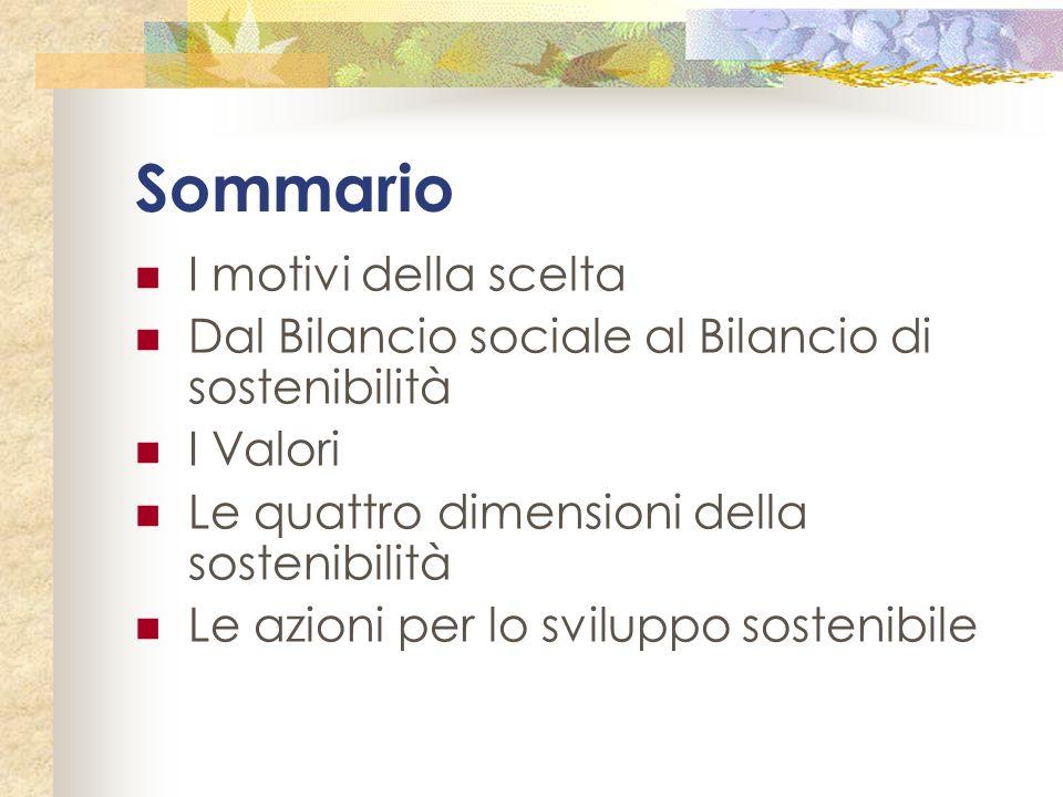 Sommario I motivi della scelta Dal Bilancio sociale al Bilancio di sostenibilità I Valori Le quattro dimensioni della sostenibilità Le azioni per lo s