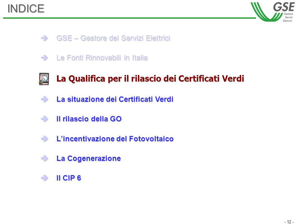 - 12 -INDICE GSE – Gestore dei Servizi Elettrici GSE – Gestore dei Servizi Elettrici Le Fonti Rinnovabili in Italia Le Fonti Rinnovabili in Italia La Qualifica per il rilascio dei Certificati Verdi La situazione dei Certificati Verdi La situazione dei Certificati Verdi Il rilascio della GO Il rilascio della GO Lincentivazione del Fotovoltaico Lincentivazione del Fotovoltaico La Cogenerazione La Cogenerazione Il CIP 6 Il CIP 6