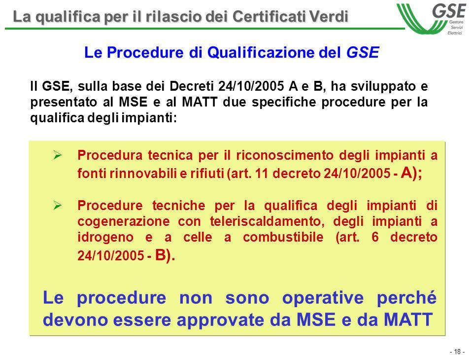 - 18 - Procedura tecnica per il riconoscimento degli impianti a fonti rinnovabili e rifiuti (art. 11 decreto 24/10/2005 - A); Procedure tecniche per l