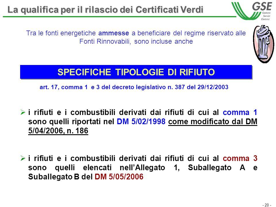 - 20 - i rifiuti e i combustibili derivati dai rifiuti di cui al comma 1 sono quelli riportati nel DM 5/02/1998 come modificato dal DM 5/04/2006, n.