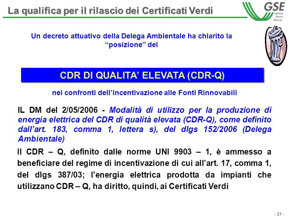 - 21 - IL DM del 2/05/2006 - Modalità di utilizzo per la produzione di energia elettrica del CDR di qualità elevata (CDR-Q), come definito dallart. 18