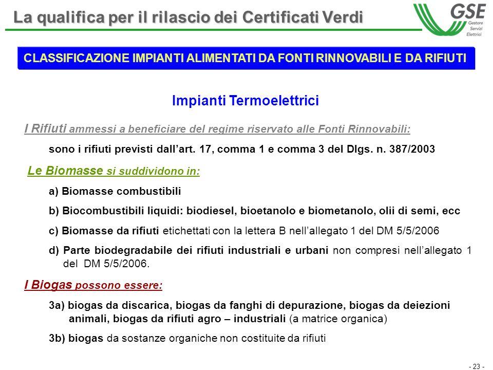 - 23 - La qualifica per il rilascio dei Certificati Verdi I Rifiuti ammessi a beneficiare del regime riservato alle Fonti Rinnovabili: sono i rifiuti previsti dallart.
