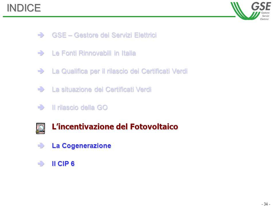 - 34 -INDICE GSE – Gestore dei Servizi Elettrici GSE – Gestore dei Servizi Elettrici Le Fonti Rinnovabili in Italia Le Fonti Rinnovabili in Italia La Qualifica per il rilascio dei Certificati Verdi La Qualifica per il rilascio dei Certificati Verdi La situazione dei Certificati Verdi La situazione dei Certificati Verdi Il rilascio della GO Il rilascio della GO Lincentivazione del Fotovoltaico La Cogenerazione La Cogenerazione Il CIP 6 Il CIP 6