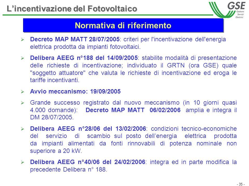 - 35 - Decreto MAP MATT 28/07/2005: criteri per l'incentivazione dell'energia elettrica prodotta da impianti fotovoltaici. Delibera AEEG n°188 del 14/