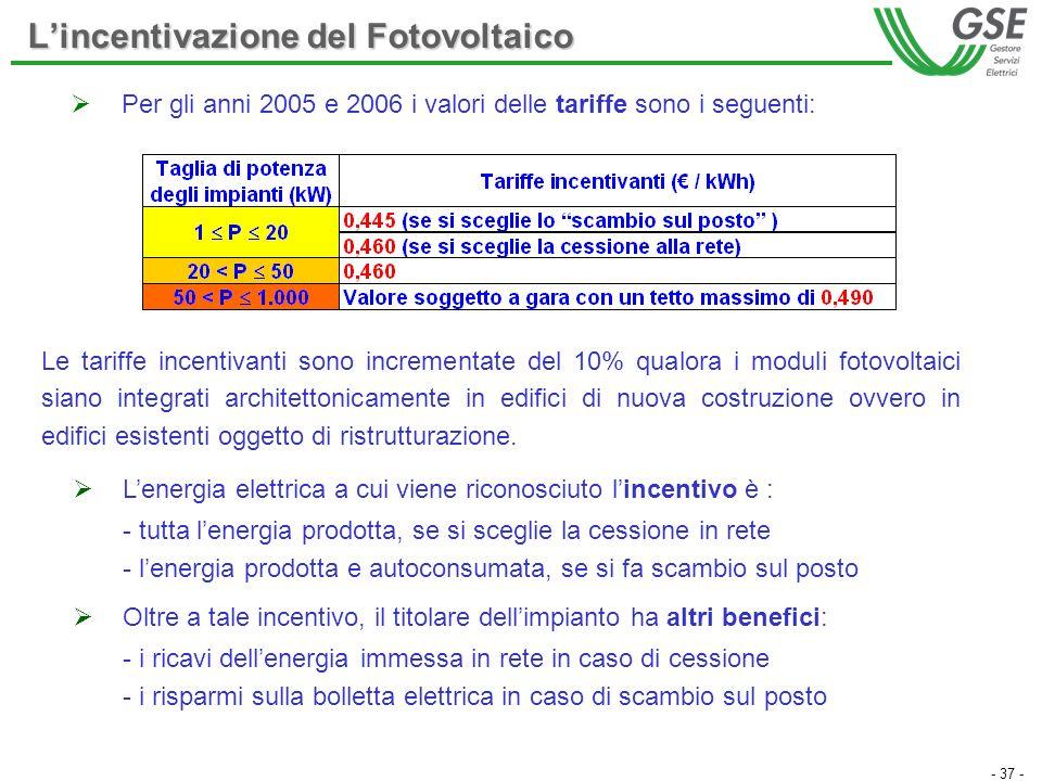 - 37 - Per gli anni 2005 e 2006 i valori delle tariffe sono i seguenti: Lincentivazione del Fotovoltaico Le tariffe incentivanti sono incrementate del
