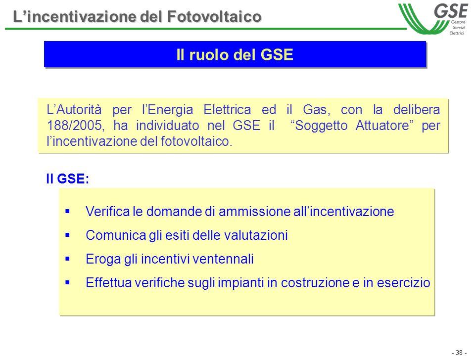 - 38 - Lincentivazione del Fotovoltaico LAutorità per lEnergia Elettrica ed il Gas, con la delibera 188/2005, ha individuato nel GSE il Soggetto Attua