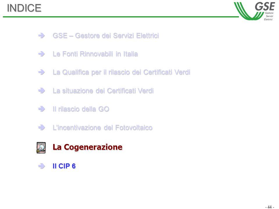 - 44 -INDICE GSE – Gestore dei Servizi Elettrici GSE – Gestore dei Servizi Elettrici Le Fonti Rinnovabili in Italia Le Fonti Rinnovabili in Italia La Qualifica per il rilascio dei Certificati Verdi La Qualifica per il rilascio dei Certificati Verdi La situazione dei Certificati Verdi La situazione dei Certificati Verdi Il rilascio della GO Il rilascio della GO Lincentivazione del Fotovoltaico Lincentivazione del Fotovoltaico La Cogenerazione Il CIP 6 Il CIP 6
