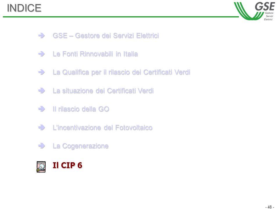 - 48 -INDICE GSE – Gestore dei Servizi Elettrici GSE – Gestore dei Servizi Elettrici Le Fonti Rinnovabili in Italia Le Fonti Rinnovabili in Italia La Qualifica per il rilascio dei Certificati Verdi La Qualifica per il rilascio dei Certificati Verdi La situazione dei Certificati Verdi La situazione dei Certificati Verdi Il rilascio della GO Il rilascio della GO Lincentivazione del Fotovoltaico Lincentivazione del Fotovoltaico La Cogenerazione La Cogenerazione Il CIP 6