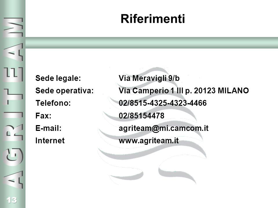 13 Riferimenti Sede legale: Via Meravigli 9/b Sede operativa: Via Camperio 1 III p. 20123 MILANO Telefono: 02/8515-4325-4323-4466 Fax: 02/85154478 E-m