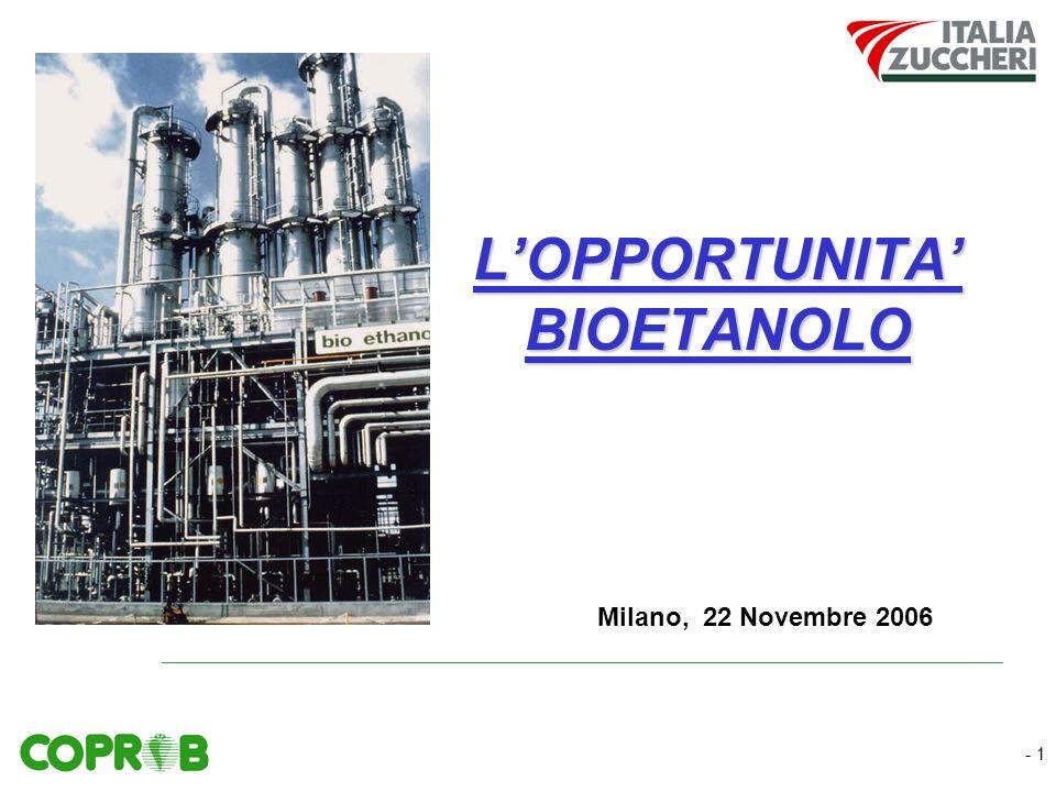 - 1 LOPPORTUNITA BIOETANOLO Milano, 22 Novembre 2006