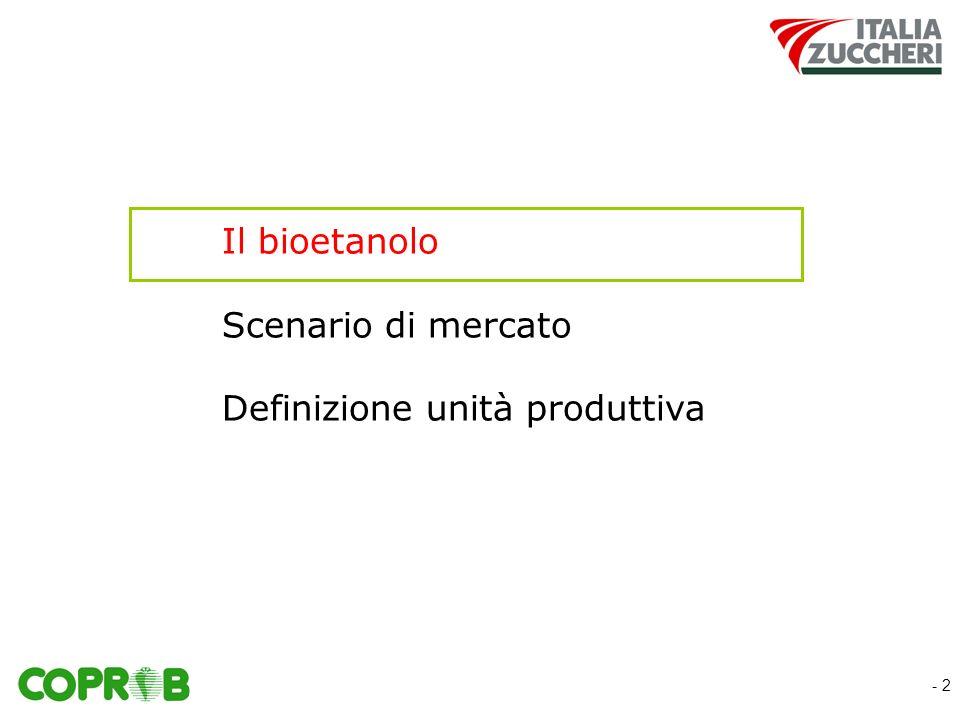 - 2 Il bioetanolo Scenario di mercato Definizione unità produttiva