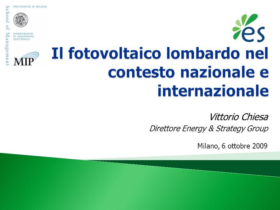 © Energy & Strategy Group - 2009 www.energystrategy.it Il fotovoltaico in Italia Il fotovoltaico in Lombardia Il mercato e le potenzialità di sviluppo La filiera Il sistema di incentivazione Conclusioni 2