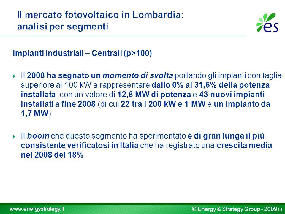 © Energy & Strategy Group - 2009 www.energystrategy.it Impianti industriali – Centrali (p>100) Il 2008 ha segnato un momento di svolta portando gli impianti con taglia superiore ai 100 kW a rappresentare dallo 0% al 31,6% della potenza installata, con un valore di 12,8 MW di potenza e 43 nuovi impianti installati a fine 2008 (di cui 22 tra i 200 kW e 1 MW e un impianto da 1,7 MW) Il boom che questo segmento ha sperimentato è di gran lunga il più consistente verificatosi in Italia che ha registrato una crescita media nel 2008 del 18% 14