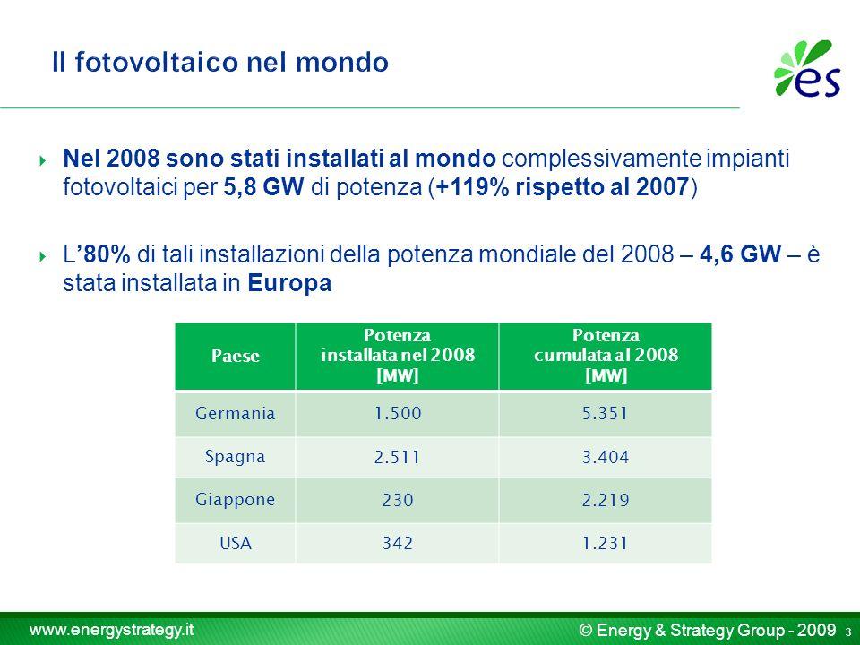 © Energy & Strategy Group - 2009 www.energystrategy.it Nel 2008 sono stati installati al mondo complessivamente impianti fotovoltaici per 5,8 GW di potenza (+119% rispetto al 2007) L80% di tali installazioni della potenza mondiale del 2008 – 4,6 GW – è stata installata in Europa Paese Potenza installata nel 2008 [MW] Potenza cumulata al 2008 [MW] Germania 1.5005.351 Spagna 2.5113.404 Giappone 2302.219 USA 3421.231 3