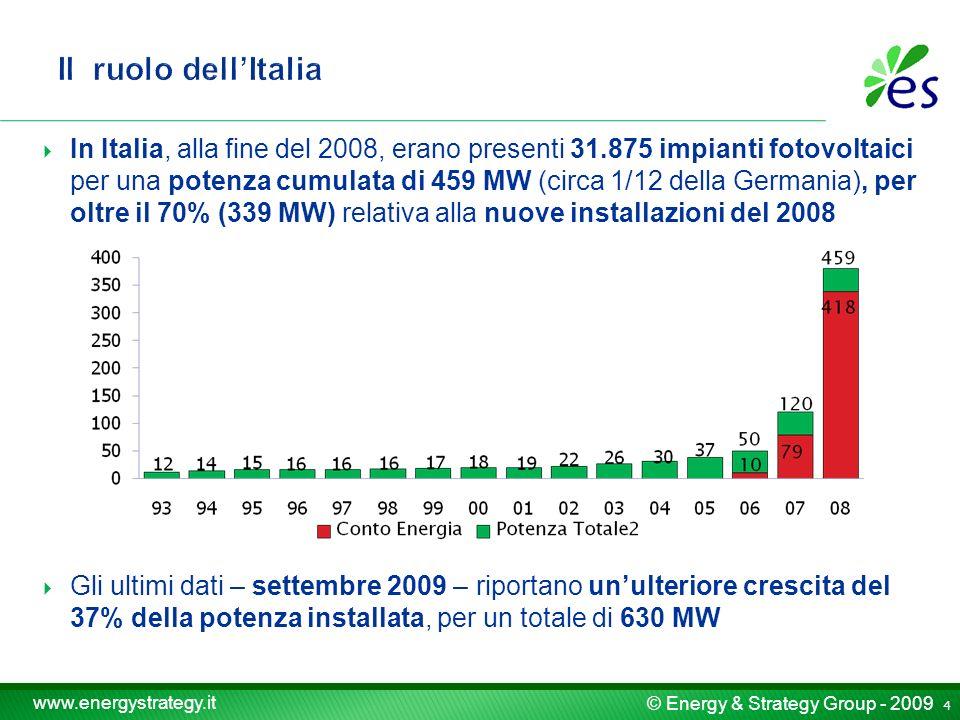 © Energy & Strategy Group - 2009 www.energystrategy.it In Italia, alla fine del 2008, erano presenti 31.875 impianti fotovoltaici per una potenza cumulata di 459 MW (circa 1/12 della Germania), per oltre il 70% (339 MW) relativa alla nuove installazioni del 2008 Gli ultimi dati – settembre 2009 – riportano unulteriore crescita del 37% della potenza installata, per un totale di 630 MW 4