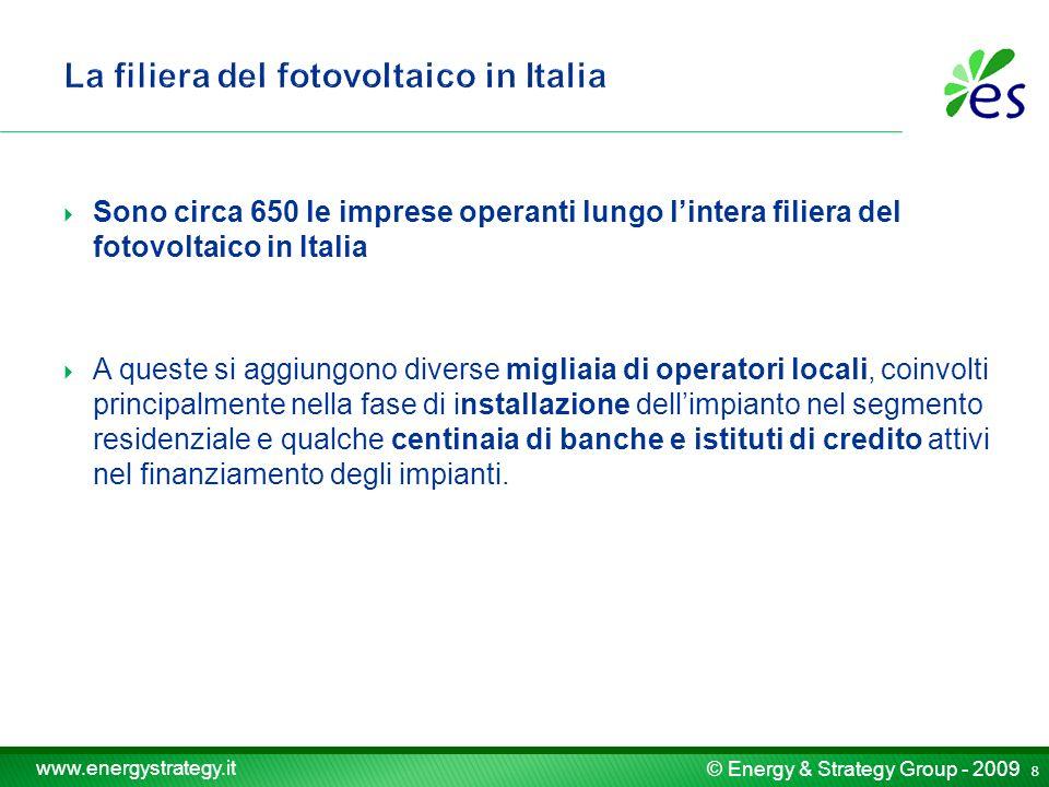 © Energy & Strategy Group - 2009 www.energystrategy.it Sono circa 650 le imprese operanti lungo lintera filiera del fotovoltaico in Italia A queste si aggiungono diverse migliaia di operatori locali, coinvolti principalmente nella fase di installazione dellimpianto nel segmento residenziale e qualche centinaia di banche e istituti di credito attivi nel finanziamento degli impianti.