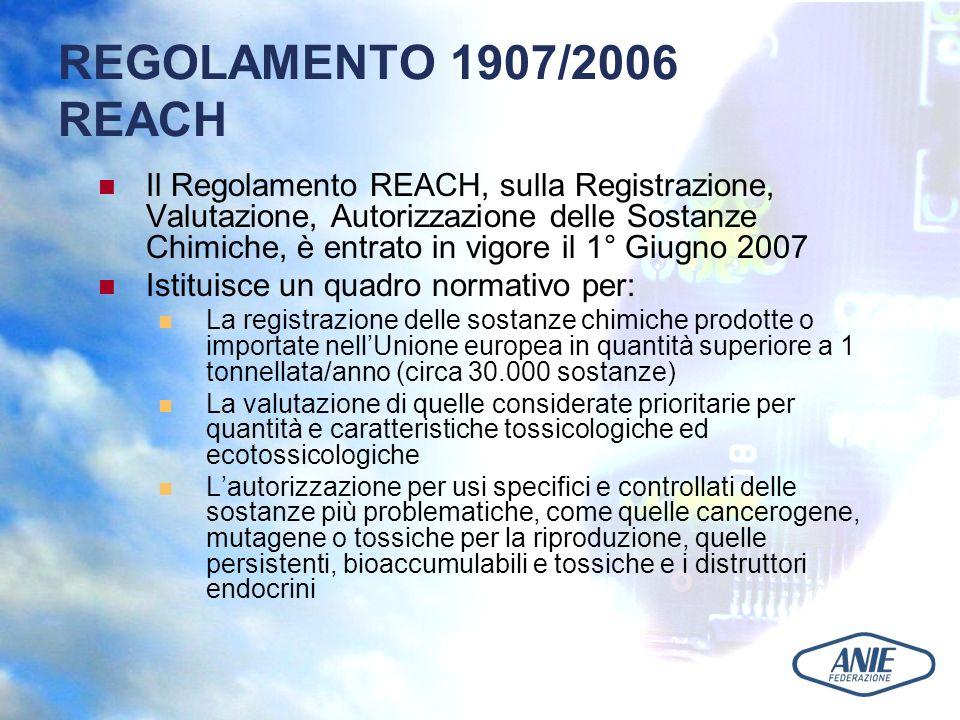 REGOLAMENTO 1907/2006 REACH Il Regolamento REACH, sulla Registrazione, Valutazione, Autorizzazione delle Sostanze Chimiche, è entrato in vigore il 1° Giugno 2007 Istituisce un quadro normativo per: La registrazione delle sostanze chimiche prodotte o importate nellUnione europea in quantità superiore a 1 tonnellata/anno (circa 30.000 sostanze) La valutazione di quelle considerate prioritarie per quantità e caratteristiche tossicologiche ed ecotossicologiche Lautorizzazione per usi specifici e controllati delle sostanze più problematiche, come quelle cancerogene, mutagene o tossiche per la riproduzione, quelle persistenti, bioaccumulabili e tossiche e i distruttori endocrini