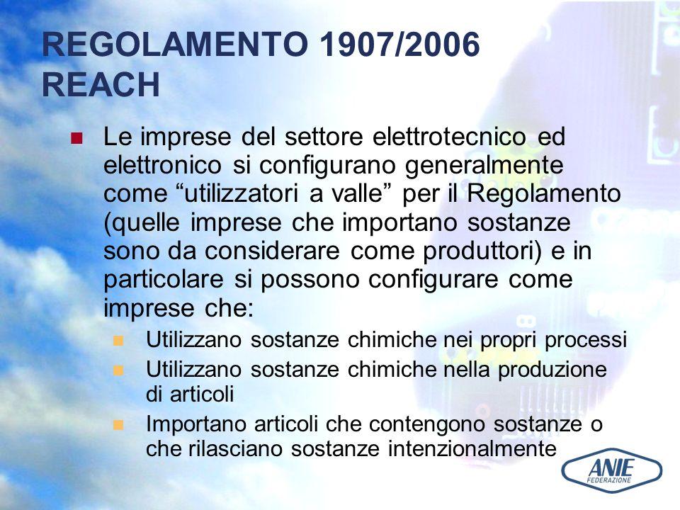 REGOLAMENTO 1907/2006 REACH Le imprese del settore elettrotecnico ed elettronico si configurano generalmente come utilizzatori a valle per il Regolamento (quelle imprese che importano sostanze sono da considerare come produttori) e in particolare si possono configurare come imprese che: Utilizzano sostanze chimiche nei propri processi Utilizzano sostanze chimiche nella produzione di articoli Importano articoli che contengono sostanze o che rilasciano sostanze intenzionalmente