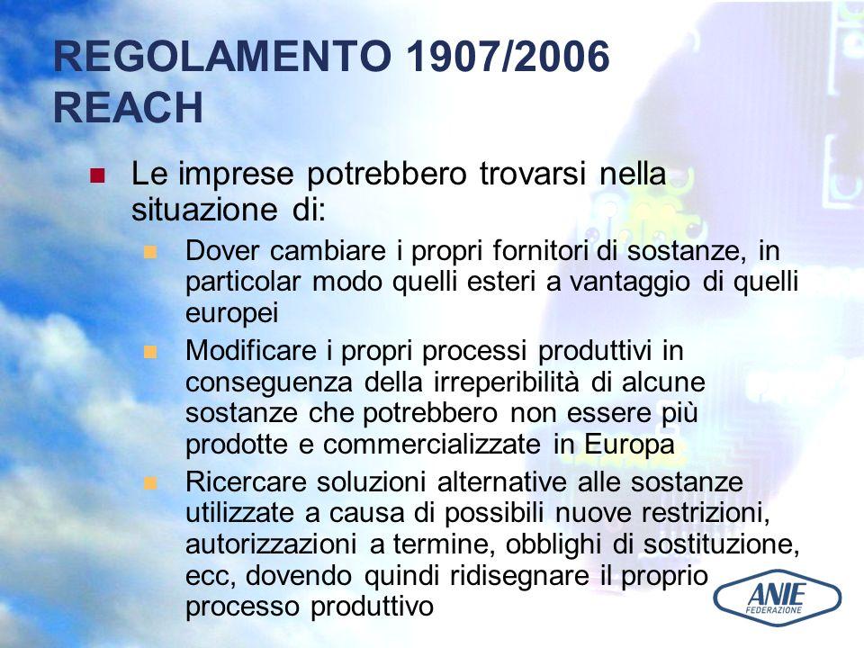 REGOLAMENTO 1907/2006 REACH Le imprese potrebbero trovarsi nella situazione di: Dover cambiare i propri fornitori di sostanze, in particolar modo quelli esteri a vantaggio di quelli europei Modificare i propri processi produttivi in conseguenza della irreperibilità di alcune sostanze che potrebbero non essere più prodotte e commercializzate in Europa Ricercare soluzioni alternative alle sostanze utilizzate a causa di possibili nuove restrizioni, autorizzazioni a termine, obblighi di sostituzione, ecc, dovendo quindi ridisegnare il proprio processo produttivo