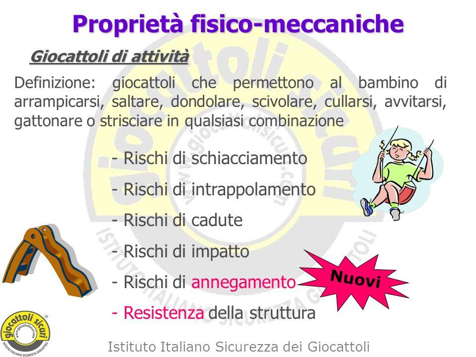 Istituto Italiano Sicurezza dei Giocattoli Proprietà fisico-meccaniche Giocattoli di attività Definizione: giocattoli che permettono al bambino di arrampicarsi, saltare, dondolare, scivolare, cullarsi, avvitarsi, gattonare o strisciare in qualsiasi combinazione - Rischi di schiacciamento - Rischi di intrappolamento - Rischi di cadute - Rischi di impatto - Rischi di annegamento - Resistenza della struttura Nuovi