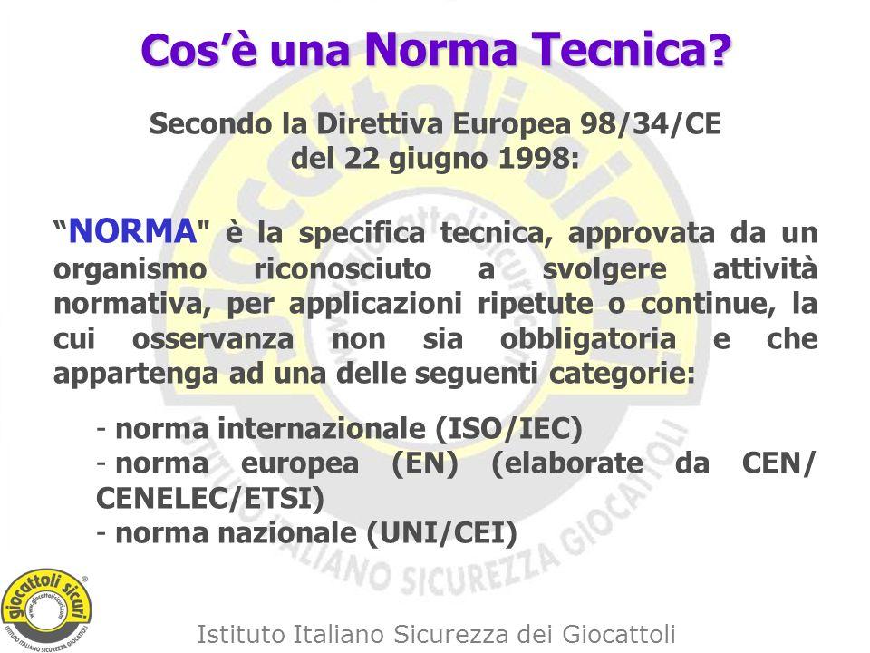 Istituto Italiano Sicurezza dei Giocattoli Cosè una Norma Tecnica .