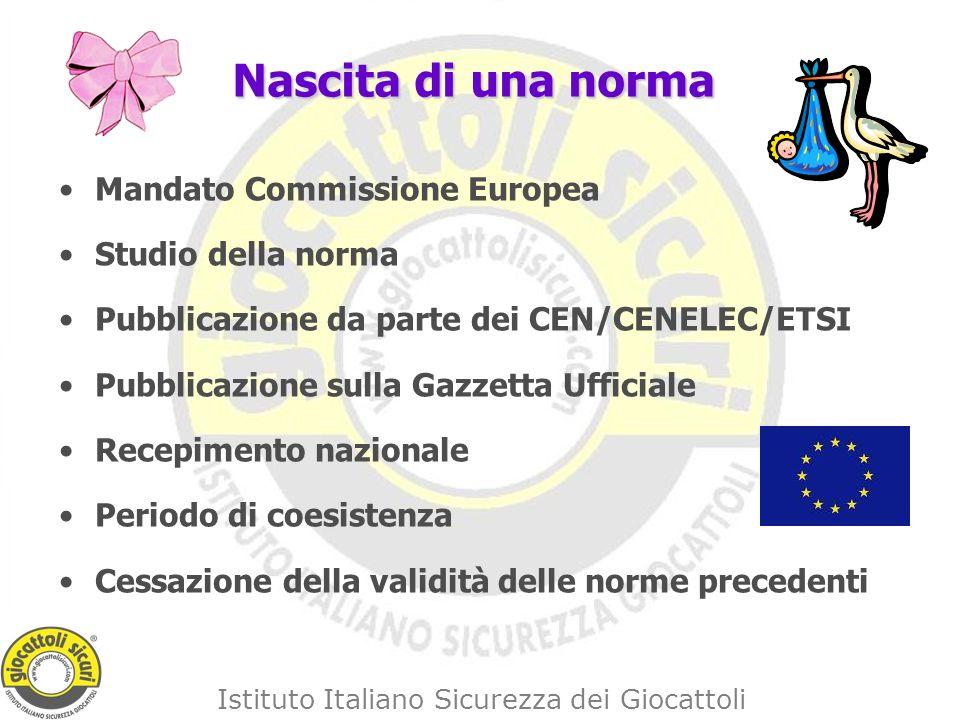 Istituto Italiano Sicurezza dei Giocattoli Nascita di una norma Mandato Commissione Europea Studio della norma Pubblicazione da parte dei CEN/CENELEC/ETSI Pubblicazione sulla Gazzetta Ufficiale Recepimento nazionale Periodo di coesistenza Cessazione della validità delle norme precedenti