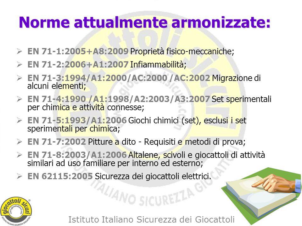 Istituto Italiano Sicurezza dei Giocattoli Norme attualmente armonizzate: EN 71-1:2005+A8:2009 Proprietà fisico-meccaniche; EN 71-2:2006+A1:2007 Infiammabilità; EN 71-3:1994/A1:2000/AC:2000 /AC:2002 Migrazione di alcuni elementi; EN 71-4:1990 /A1:1998/A2:2003/A3:2007 Set sperimentali per chimica e attività connesse; EN 71-5:1993/A1:2006 Giochi chimici (set), esclusi i set sperimentali per chimica; EN 71-7:2002 Pitture a dito - Requisiti e metodi di prova; EN 71-8:2003/A1:2006 Altalene, scivoli e giocattoli di attività similari ad uso familiare per interno ed esterno; EN 62115:2005 Sicurezza dei giocattoli elettrici.