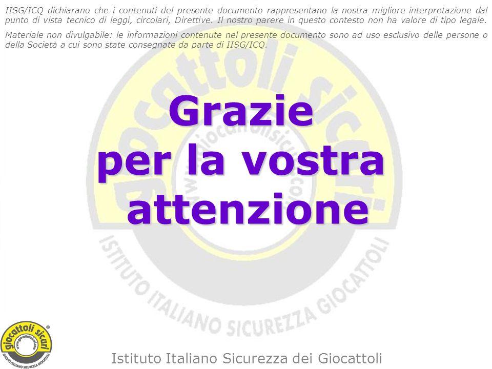 Istituto Italiano Sicurezza dei Giocattoli Grazie per la vostra attenzione IISG/ICQ dichiarano che i contenuti del presente documento rappresentano la nostra migliore interpretazione dal punto di vista tecnico di leggi, circolari, Direttive.