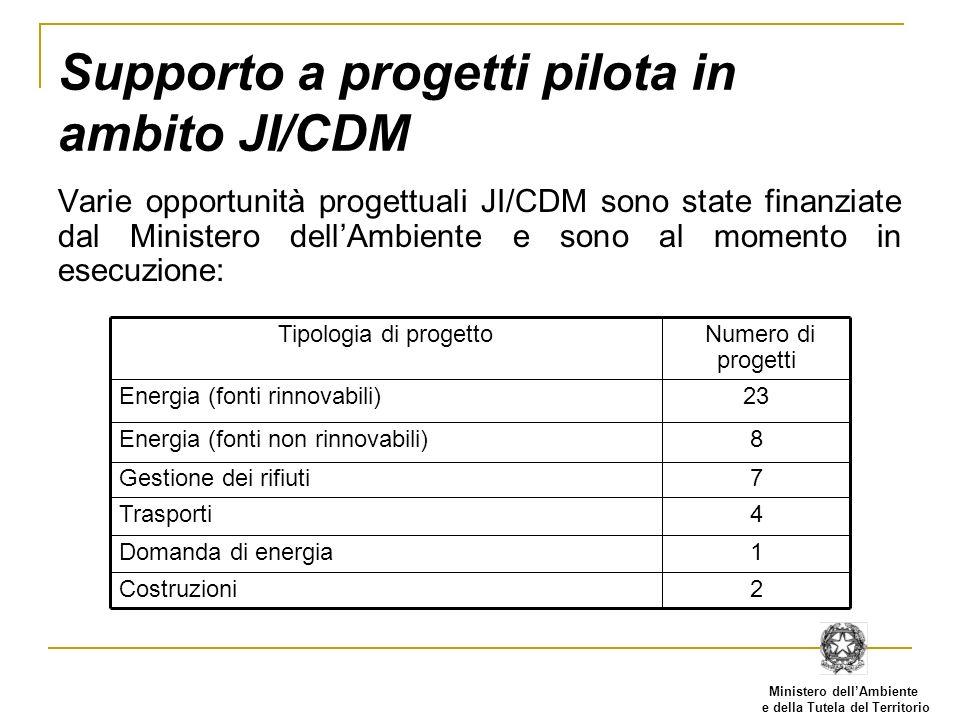 Ministero dellAmbiente e della Tutela del Territorio Supporto a progetti pilota in ambito JI/CDM Varie opportunità progettuali JI/CDM sono state finan
