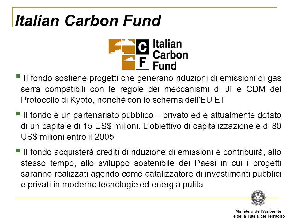 Ministero dellAmbiente e della Tutela del Territorio Italian Carbon Fund Il fondo sostiene progetti che generano riduzioni di emissioni di gas serra c