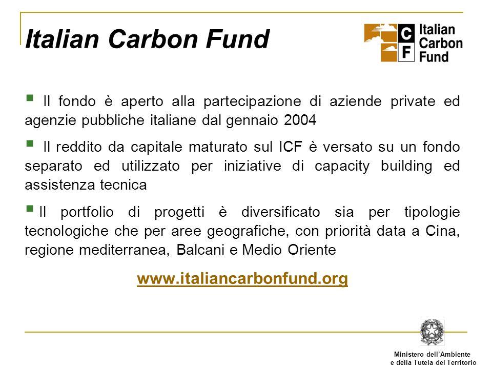 Ministero dellAmbiente e della Tutela del Territorio Italian Carbon Fund Il fondo è aperto alla partecipazione di aziende private ed agenzie pubbliche