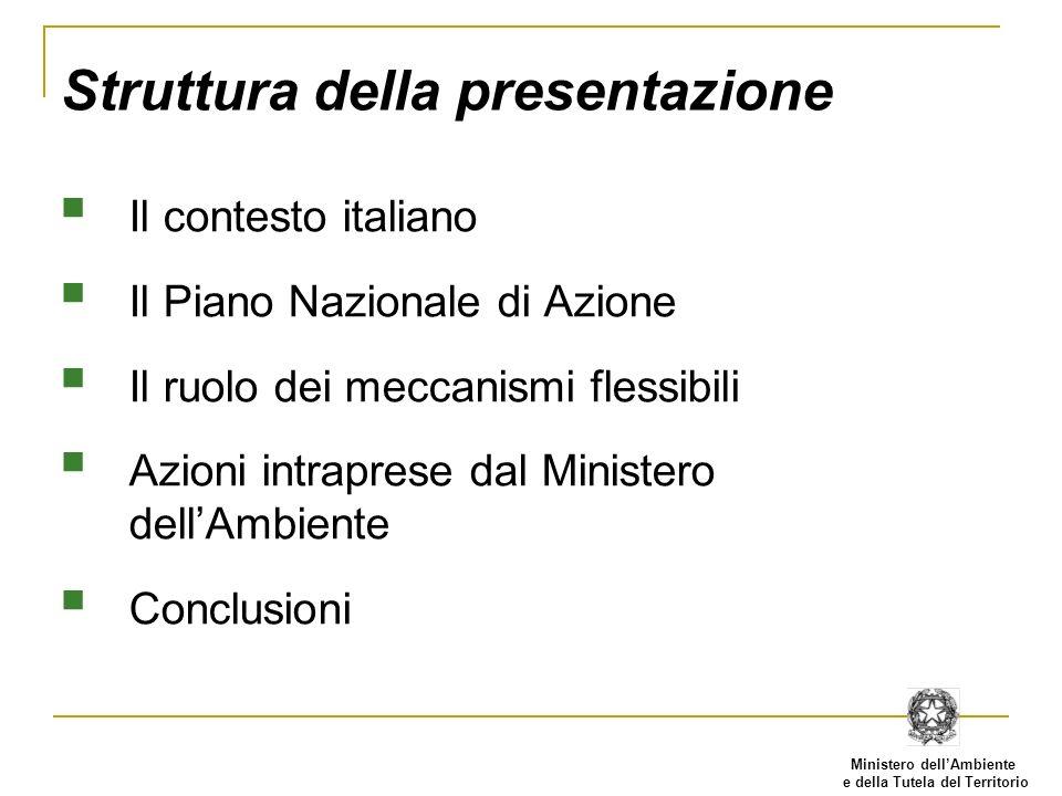 Ministero dellAmbiente e della Tutela del Territorio Struttura della presentazione Il contesto italiano Il Piano Nazionale di Azione Il ruolo dei meccanismi flessibili Azioni intraprese dal Ministero dellAmbiente Conclusioni