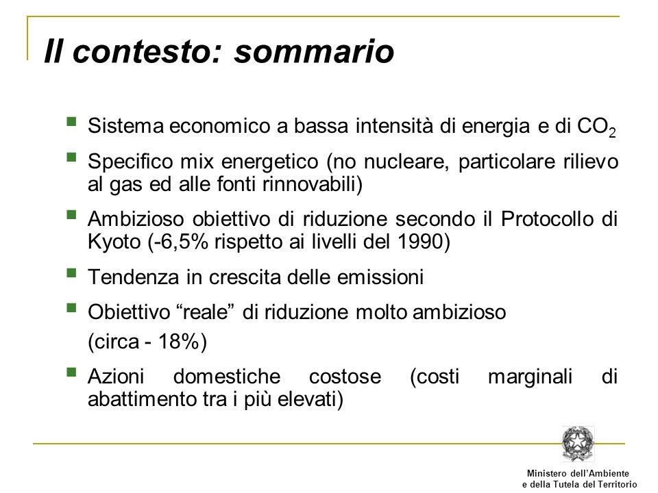 Ministero dellAmbiente e della Tutela del Territorio Il contesto: sommario Sistema economico a bassa intensità di energia e di CO 2 Specifico mix ener