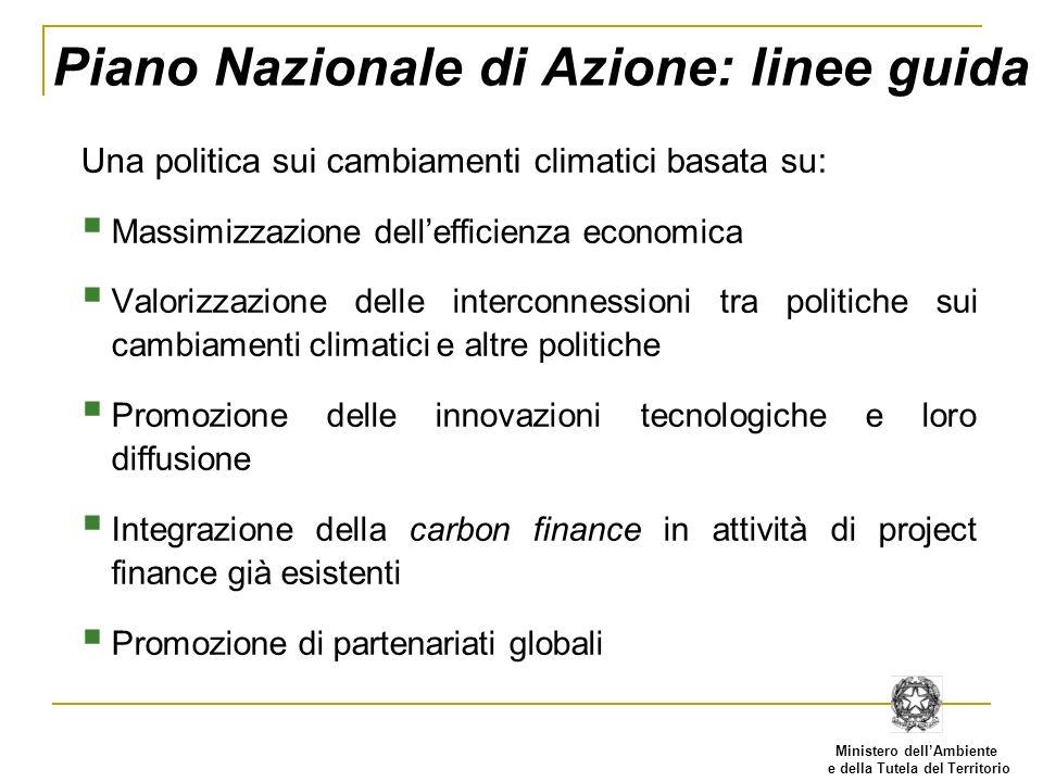 Ministero dellAmbiente e della Tutela del Territorio Piano Nazionale di Azione: linee guida Una politica sui cambiamenti climatici basata su: Massimiz