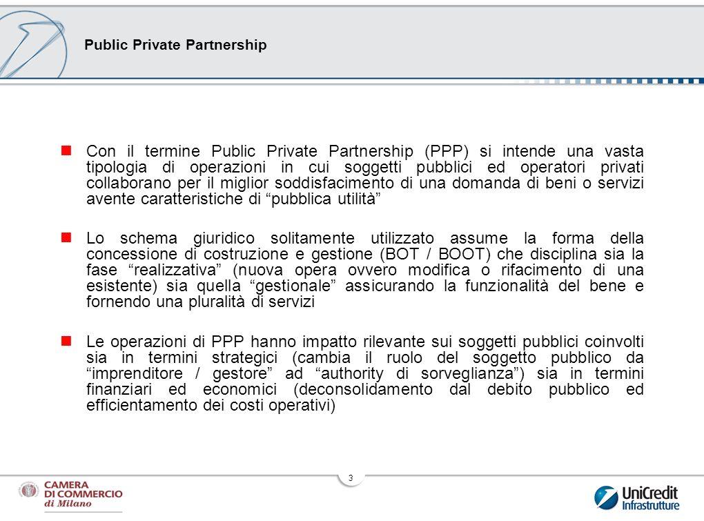3 Public Private Partnership Con il termine Public Private Partnership (PPP) si intende una vasta tipologia di operazioni in cui soggetti pubblici ed