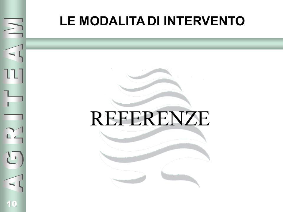 10 LE MODALITA DI INTERVENTO REFERENZE