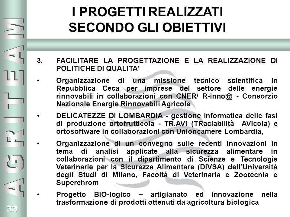 33 I PROGETTI REALIZZATI SECONDO GLI OBIETTIVI 3.FACILITARE LA PROGETTAZIONE E LA REALIZZAZIONE DI POLITICHE DI QUALITA Organizzazione di una missione tecnico scientifica in Repubblica Ceca per imprese del settore delle energie rinnovabili in collaborazioni con CNER/ R-inno@ - Consorzio Nazionale Energie Rinnovabili Agricole DELICATEZZE DI LOMBARDIA - gestione informatica delle fasi di produzione ortofrutticola - TR.AVI (TRaciabilità AVIcola) e ortosoftware in collaborazioni con Unioncamere Lombardia, Organizzazione di un convegno sulle recenti innovazioni in tema di analisi applicate alla sicurezza alimentare in collaborazioni con il dipartimento di Scienze e Tecnologie Veterinarie per la Sicurezza Alimentare (DiVSA) dellUniversità degli Studi di Milano, Facoltà di Veterinaria e Zootecnia e Superchrom Progetto BIO-logico – artigianato ed innovazione nella trasformazione di prodotti ottenuti da agricoltura biologica