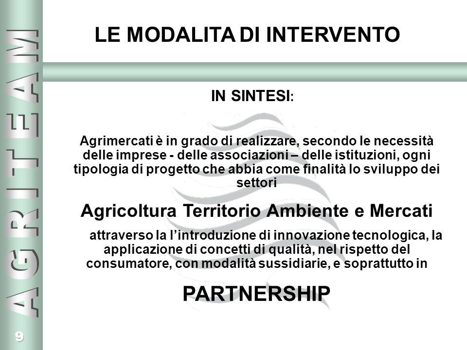 9 IN SINTESI : Agrimercati è in grado di realizzare, secondo le necessità delle imprese - delle associazioni – delle istituzioni, ogni tipologia di progetto che abbia come finalità lo sviluppo dei settori Agricoltura Territorio Ambiente e Mercati attraverso la lintroduzione di innovazione tecnologica, la applicazione di concetti di qualità, nel rispetto del consumatore, con modalità sussidiarie, e soprattutto in PARTNERSHIP LE MODALITA DI INTERVENTO